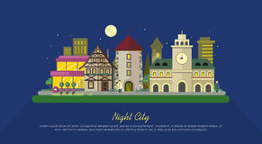 Night City. City Street Vector Illustration. At night. Urban city landscape web banner. Building architecture in unusual fashionable design. Modern town Royalty Free Stock Photography