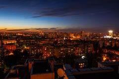 Night city concept, many modern buildings, Voronezh, aerial view Royalty Free Stock Photos
