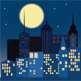 Night in the city. On a dark blue background Royalty Free Stock Photography