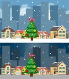 Night city and day christmas city and building. Vector illustration Stock Image