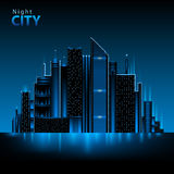 Night city. Decorative abstract neon night city Stock Images