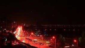 Night city is defocused with nice bokeh stock footage