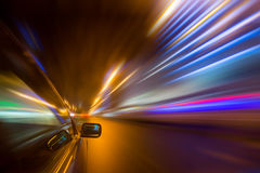 Night city drive by car Royalty Free Stock Photo