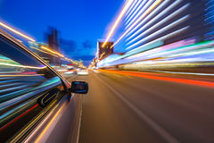 Night city drive by car Stock Images