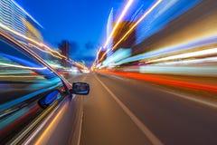 Night city drive by car Stock Photos