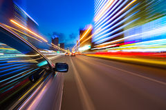 Night city drive by car Royalty Free Stock Image