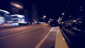 Night city drive by car stock video