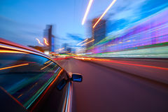 Night city fast drive by car Stock Image