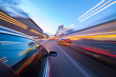 Night city fast drive by car Royalty Free Stock Photo