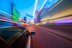 Night city fast drive by car Stock Images