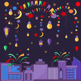 Night city festive elements balls, lamps, stars. City at night in the festive night. Fireworks, fireworks, balloons, light bulbs. Vector illustration Royalty Free Stock Image