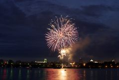 Night city fireworks. (with water reflaction Royalty Free Stock Images