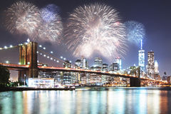 Night city with fireworks backdrop Royalty Free Stock Photo