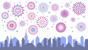 Night city fireworks. Celebrated festive firecracker over town s royalty free illustration