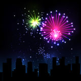 Night city. Fireworks Display over the Night City, vector illustrated background Stock Photo
