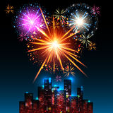 Night city. Fireworks Display over the Night City, vector illustrated background Royalty Free Stock Photo