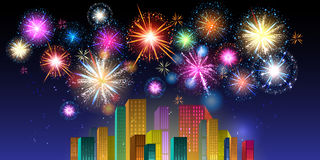 Night city. Fireworks Display over the Night City, vector illustrated background Stock Image