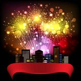 Night City. Fireworks Display over the Night City, vector illustrated background Stock Photos