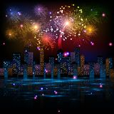 Night City. Fireworks Display over the Night City, vector illustrated background Stock Images