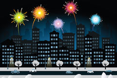 Night city and fireworks (New Year celebration). Vector illustration of night city and fireworks Royalty Free Stock Images