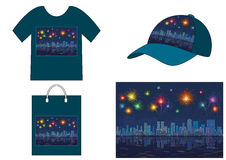 Night City with Fireworks, Seamless. Horizontal Seamless Landscape, Holiday Urban Background, Night City, Reflecting in Blue Sea, With Skyscrapers and Bright Stock Photo