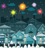 Night city and fireworks. Vector illustration of fireworks in the city Stock Photo