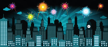 Night city and fireworks. Vector illustration of night city and fireworks Royalty Free Stock Photography