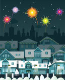 Night city and fireworks. Vector illustration of night city and fireworks Royalty Free Stock Photos