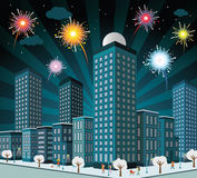 Night city and fireworks Stock Photography