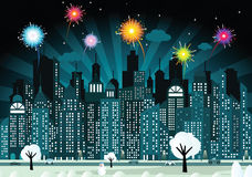 Night city and fireworks Stock Images