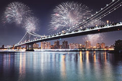 Night city with fireworks wallpaper Stock Image