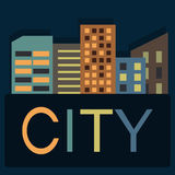 Night City. In a flat design Royalty Free Stock Photos