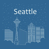 Night city in a flat style for banners, posters. Metropolis in a linear style - the snow is falling. Night life and starry sky in Seattle. Building city of Royalty Free Stock Photo