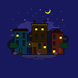Night city in flat style. Stock Photos