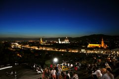 Night in the city of Florence , Italy Stock Photo