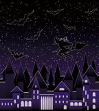 Night city and  flying beautiful sexy witch silhouette, seamless pattern. Vector illustration Stock Image