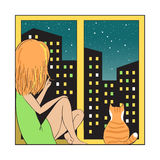 Night city and girl with cat. Girl and red cat sitting on the windowsill looking out the window. Night city is visible in the window. Vector illustration in Stock Images