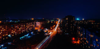 Night city. Gloving night city of Ukraine royalty free stock images