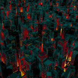 Night city glow cartoon Stock Photos
