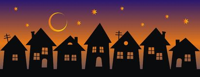 Night city, group of houses, black silhouette on rainbow background