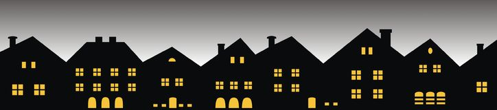 Night city, group of houses, front view. Black silhouette with the lights on the windows. Backlit background stock illustration