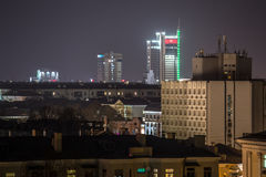 Night city from high point. With selective focus Stock Image