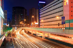 Night city highway traffic Royalty Free Stock Images
