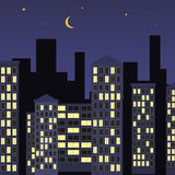 Night city illustration Royalty Free Stock Photography