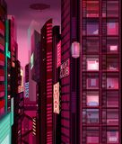 Night city illustration with neon glow, Cities and lights, Neon city lights. Futuristic cityscape, Night time, Night city illustration with neon glow, Cities and Royalty Free Illustration