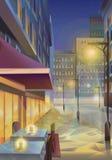Night city illustration Royalty Free Stock Photo