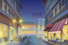 Night city illustration Stock Images