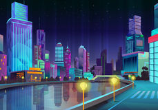 Night city illustration Stock Photography
