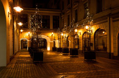 Night city inner yard royalty free stock photography