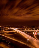 Night city interchange Royalty Free Stock Image